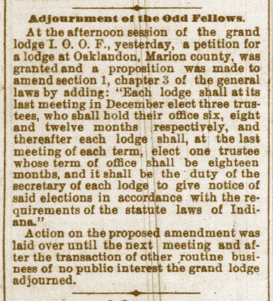 Adjournment of the Odd Fellows