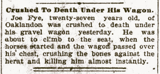 Crushed To Death Under His Wagon