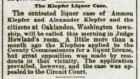 The Klepfer Liquor Case