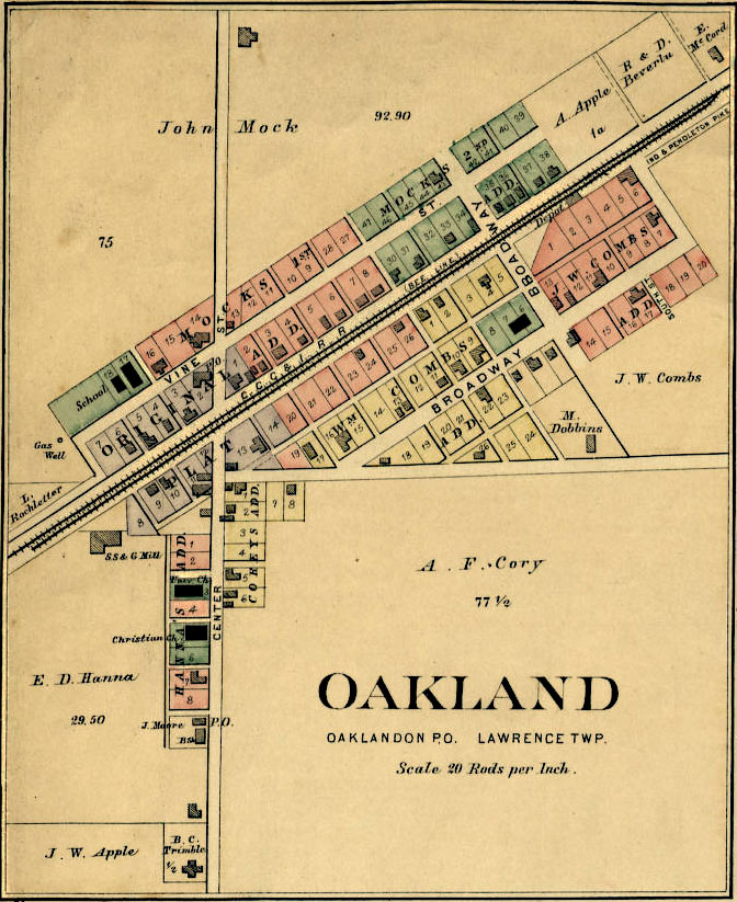 Detail Map of Oakland Published in 1889