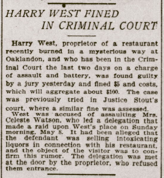 HARRY WEST FINED IN CRIMINAL COURT