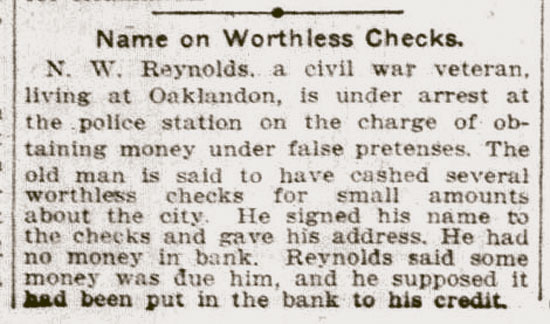 Name on Worthless Checks.