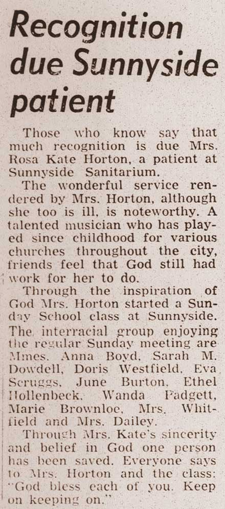 Recognition due Sunnyside patient